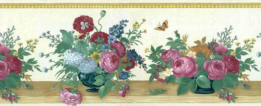 Vintage Floral Bouquet Border with Textured & Glazed surface