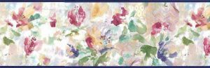 Pastel Tulips vintage Wallpaper Border, impressionistic flowers, pink, purple, green