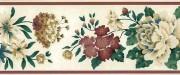 Tea-Washed Vintage Floral Wallpaper Border