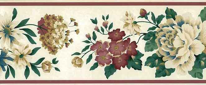 Tea-Washed Vintage Floral Wallpaper Border