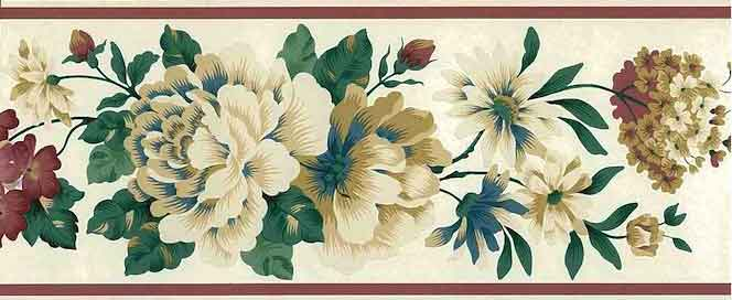Cream peonies Vintage Wallpaper Border, red, green,