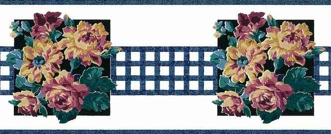 Blue Lattice Floral Wallpaper Border