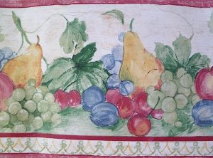 Vintage wallpaper border fruit, primary colors, red, green, pears, plums, grapes