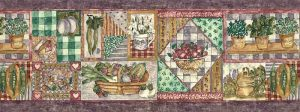Purple Vegetable vintage Wallpaper Border, collage styie, eggplants, strawberries, onions
