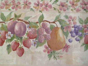 Soft Pink Fruit Wallpaper Border on a Lattice Trellis