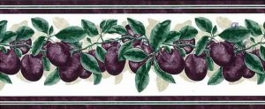 Plums Vintage Wallpaper Border, Purple, Green, Cream