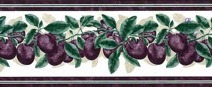 Plums Wallpaper Border in Purple, Green, & Cream