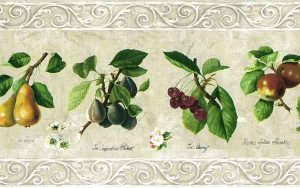 Cream Fruit Botanical Wallpaper Border with French Script and scrolled edges