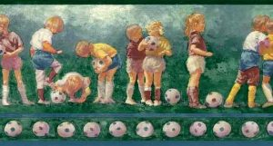 Vintage Soccer Balls Wallpaper Border featuring young children