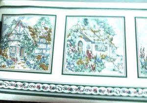 Vintage Cottage Wallpaper Border in Green & Cream