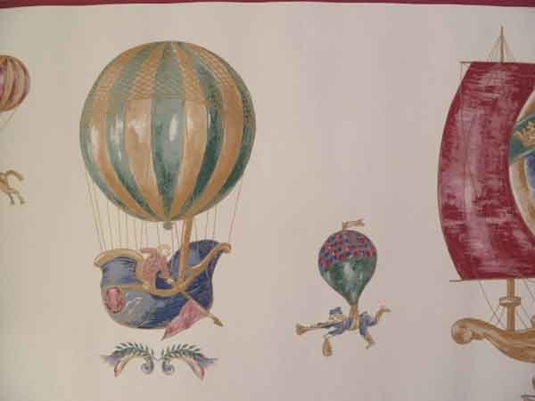 Hot Air Balloon Wallpaper Border with Ships on Cream