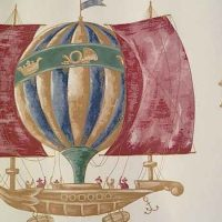 Hot Air Balloons Wallpaper Border with Ships on Cream