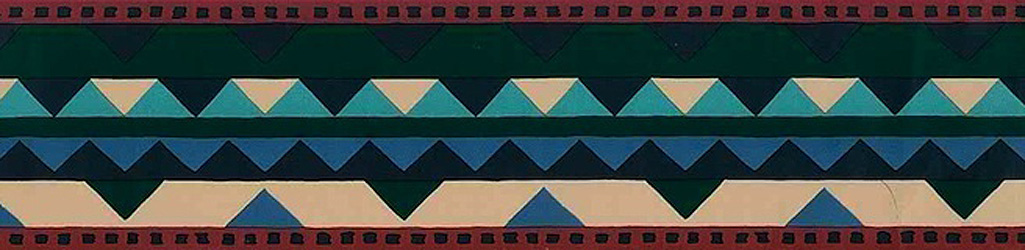 Vintage Waverly Southwest Wallpaper Border with Blue, Peach, Green & Red Ric-Rac