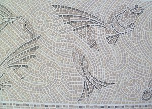 Mosaic Tile Vintage Wallpaper Border, Fish Pattern, Taupe, Beige, Gray