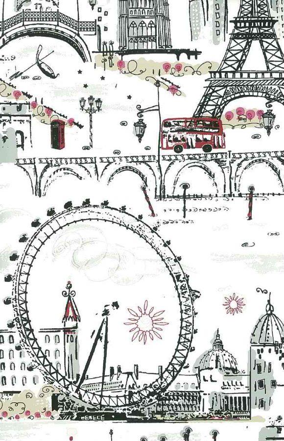 Wallpaper tres chic Paris London Venice, white, red, black