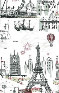 Walllpaper Paris London Venice tres chic scene, gondolas, Eiffel Tower, Tower of London