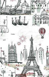 Walllpaper Paris London Venice tres chic scene, gondolas, Eiffel Tower, Tower of London