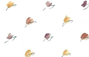 Tulip Vintage Wallpaper, modern style, red, orange, purple, lavender, green, cream