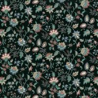 paisley vintage wallpaper, black green, blue, rose, white, stylized flowers.