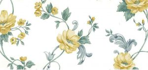 yellow roses vintage wallpaper, gray, green, off-white