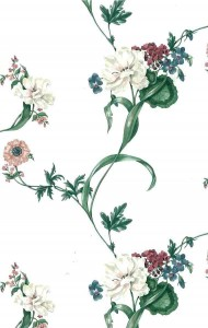 pink rose floral vintage wallpaper, cottage, textured, blue, green leaves, off-white, phlox, anemones