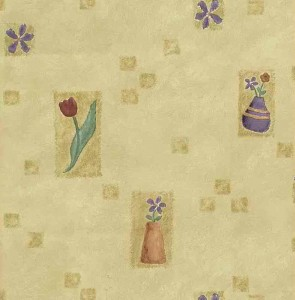 Vintage wallpaper Spring flowers, yellow, red, purple