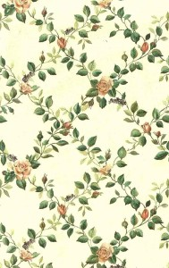 floral lattice vintage wallpaper, green vines, roses, beige satin finish