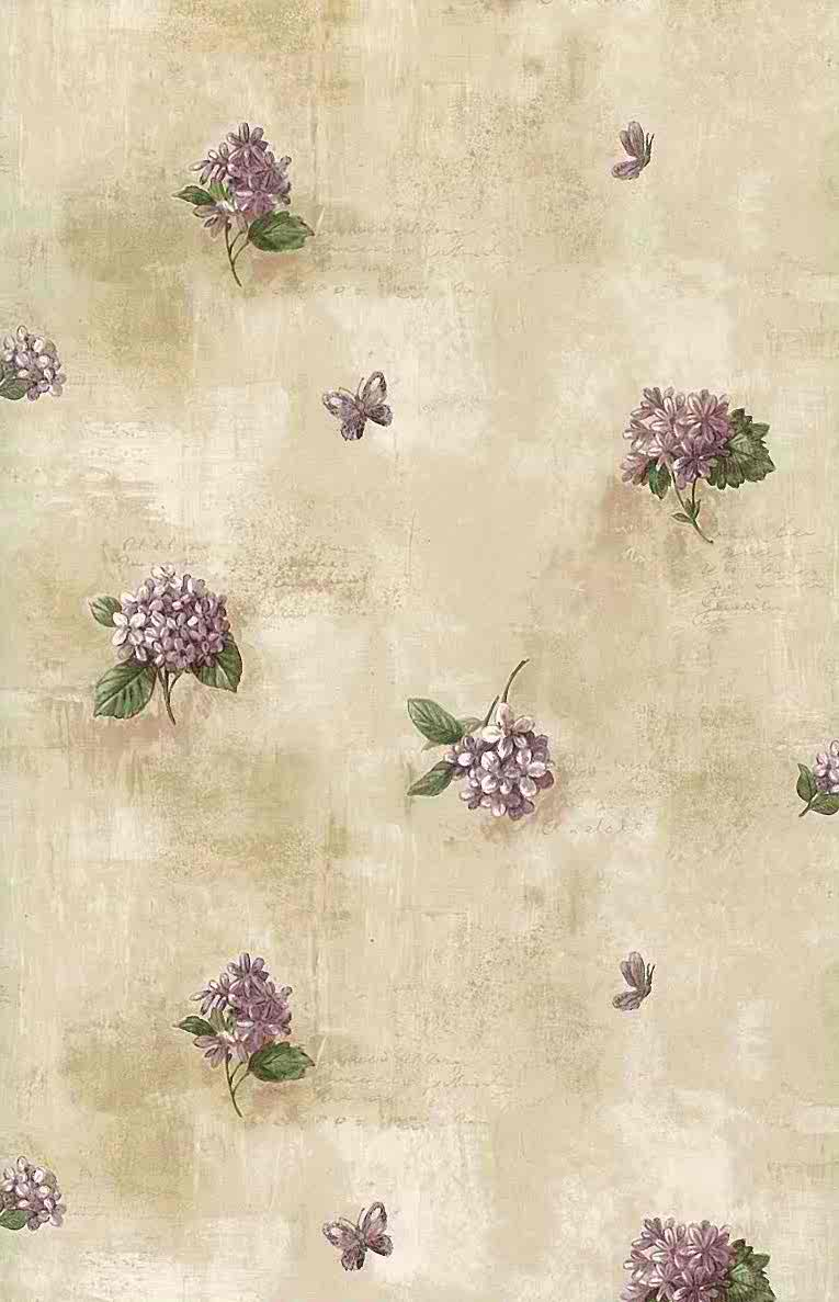 Lilacs vintage wallpaper purple green beige faux for Lilac butterfly wallpaper