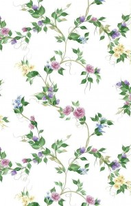 Pink purple roses vintage wallpaper, blue, yellow, white, brown vines