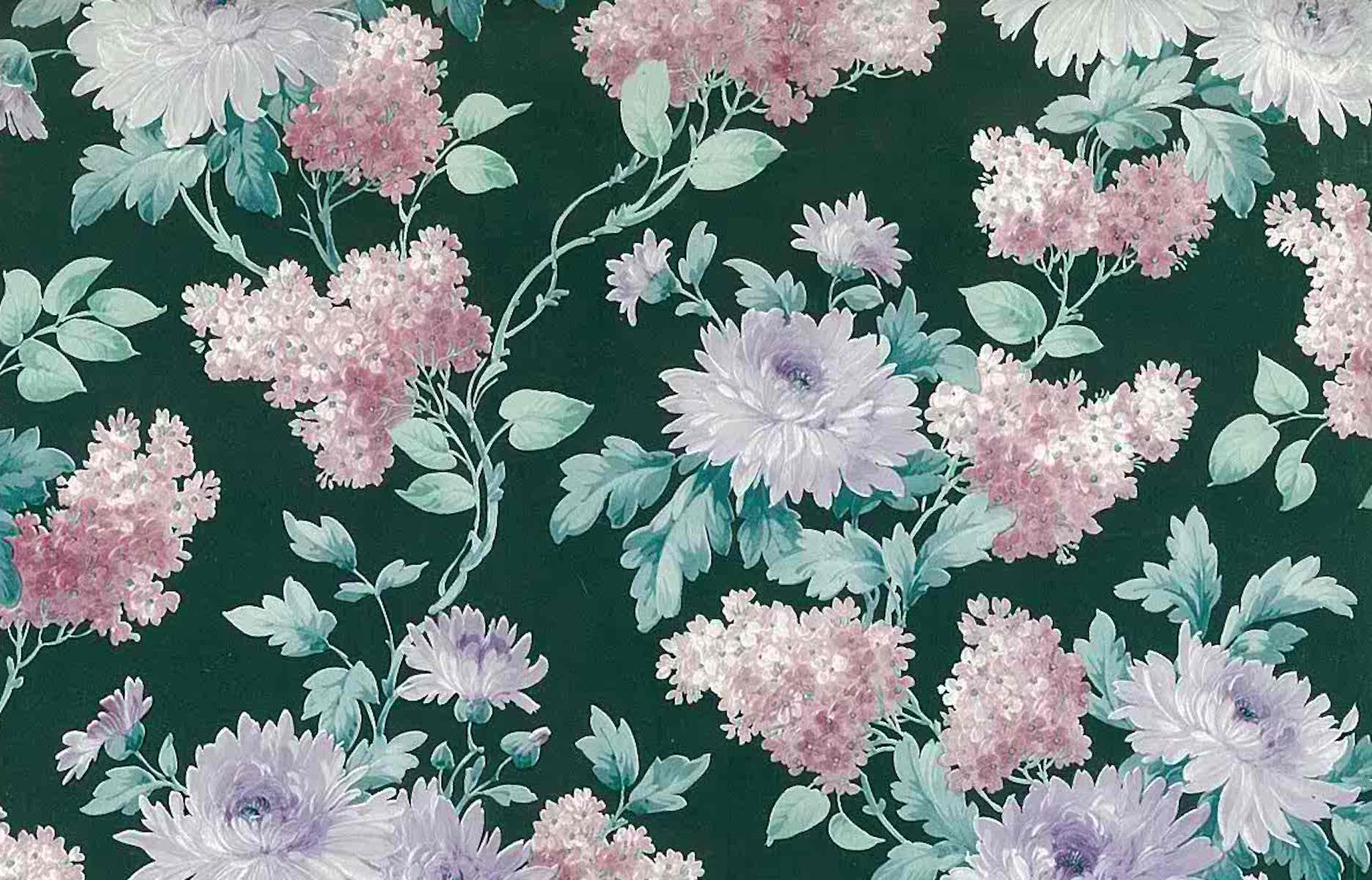 Green Floral Vintage Wallpaper Pink White Purple Lilacs