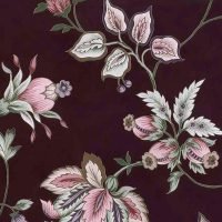 maroon floral vintage wallpaper, stylized flowers