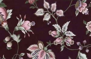 maroon vintage wallpaper, stylized flowers