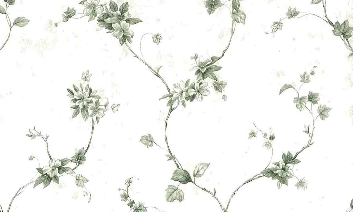 Green Ivy Vintage Wallpaper, vines, off-white, floral