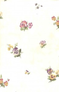 Pansies vintage wallpaper, pink,blue, purple, cream, textured