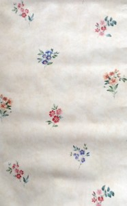Summer floral wallpaper, rose, pink, blue, green, cream, faux finish
