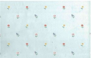 vintage wallpaper floral blue, yellow, pink, white, cottage style