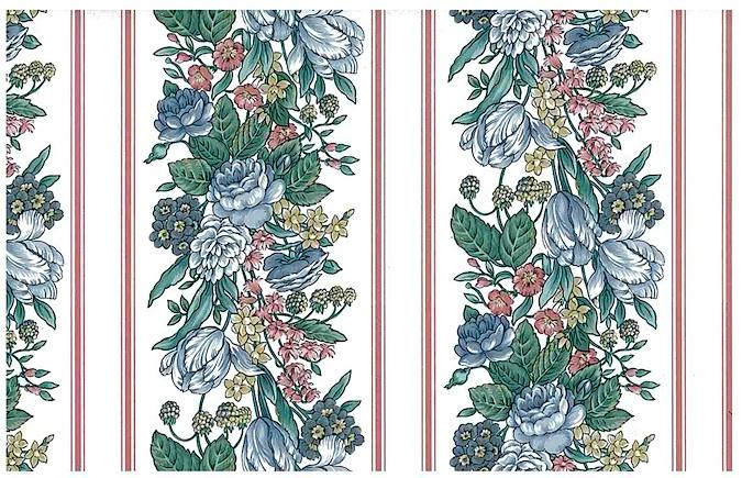 Striped wallpaper floral, pink blue
