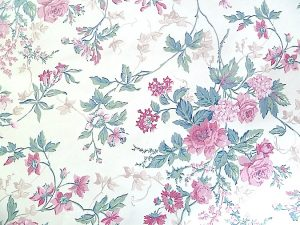 cottage floral vintage wallpaper,pink green, beige, ivy, cream