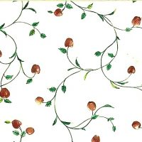 Vintage wallpaper apples vines kitchen, red, green, cream