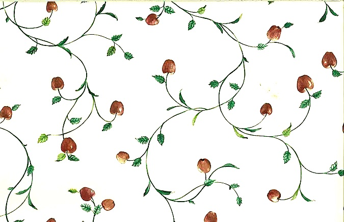 Vintage wallpaper apples vines kitchen, red, green, cream