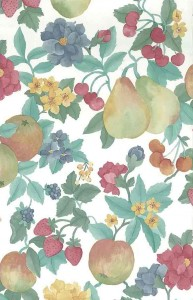 pears berries vintage wallpaper