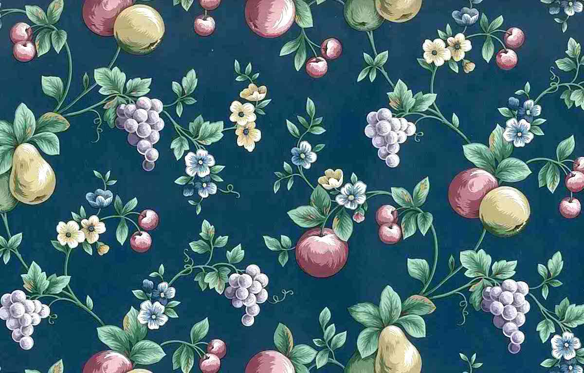 navy fruit vintage wallpaper,pears,grapes,red,green