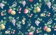 navy fruit floral vintage wallpaper,pears,grapes