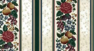 vintage wallpaper fruit floral striped, roses, plums, peaches, grapes, red, green, yellow