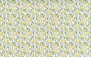 yellow lemons vintage wallpaper, green, leaves, off-white, crackled, kitchen