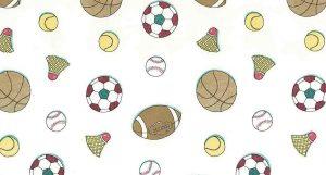 Sports vintage wallpaper, kids, baseball, football, basketball, tennis, badminton, red, white, brown