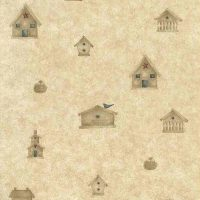 birdhouses vintage wallpaper beige red blue