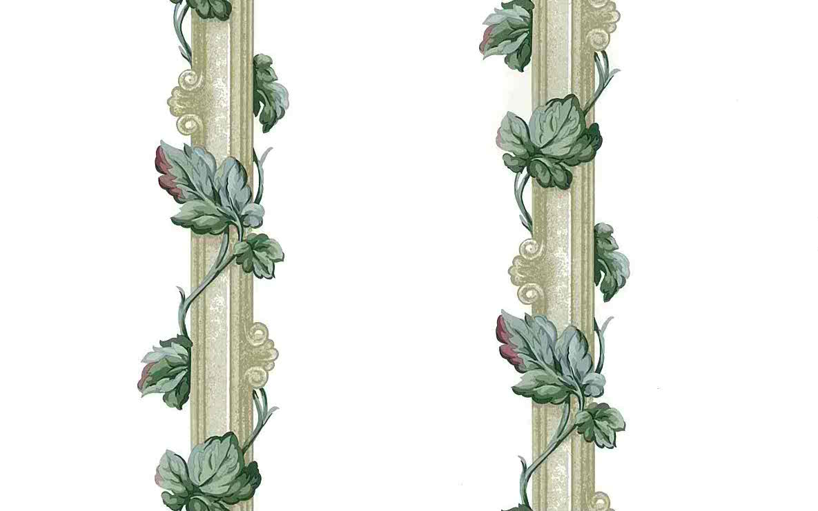leaf stripes vintage wallpaper,ivy, green,taupe,columns