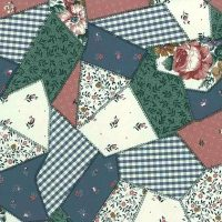 patchwork quilt vintage wallpaper, checks, stripes, flowers, pink, green, white