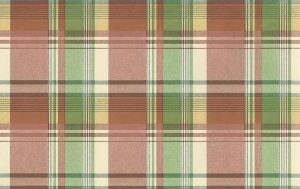 Waverly vintage plaid wallpaper, red, orange, yellow, green, blue, white, cottage style